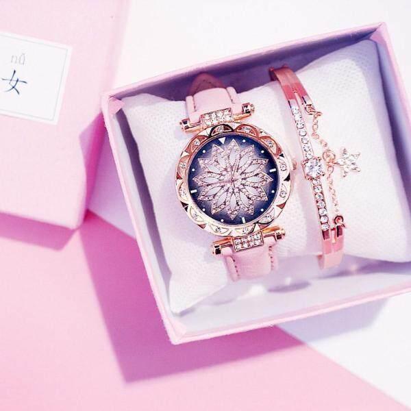 Tp K-POP Wanita Mudah Fesyen Kasual Pusingan Dial Kuarza Watch dengan Tali Kulit Tiruan Gelang Indah Set Malaysia