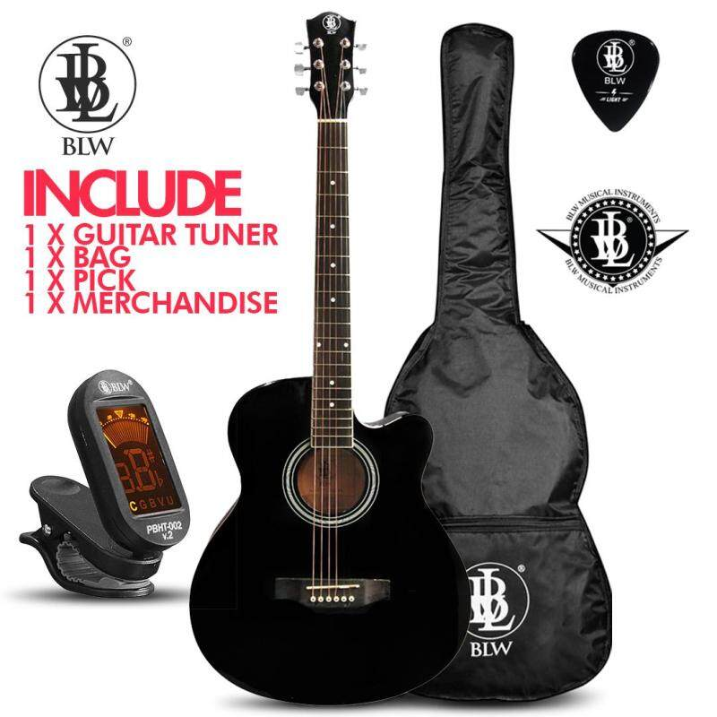 BLW 40 Inch Standard Orchestra Acoustic Guitar for Beginners SO400 Comes with Bag, Digital Chromatic Tuner T-002, Pick and Merchandise Sticker (Black) Malaysia