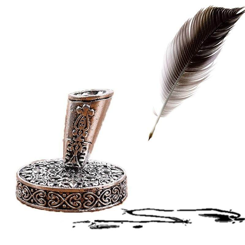 Mua JingJing Châu Âu Vintage Lông Vũ Bút Bút Chân Đế Kim Loại Tròn Đựng Bút Ma Thuật Bút máy Phụ Kiện Inox Văn Phòng Phẩm
