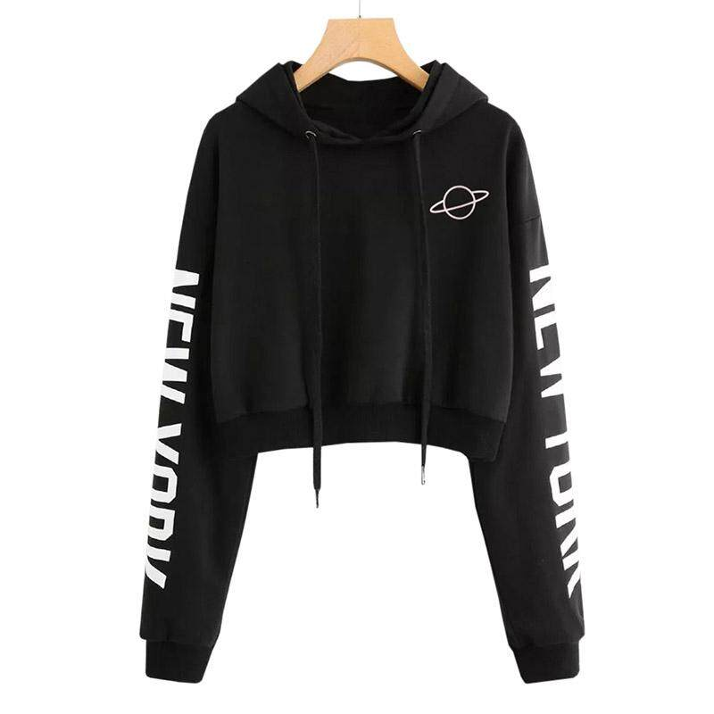 Sexy Crop Top Hoodie Long Sleeve Letter Printing Pure Color Cropped Hooded Sweatshirt Planet Printed Drawstring Hoodie Sexy Cropped Tops By Bloomhd.