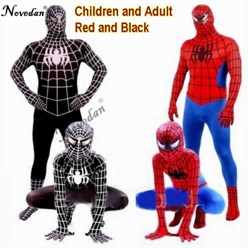 Red Black Spiderman Kostum Spider Man Suit Spider-Man Kostum Dewasa Anak Anak Spider-