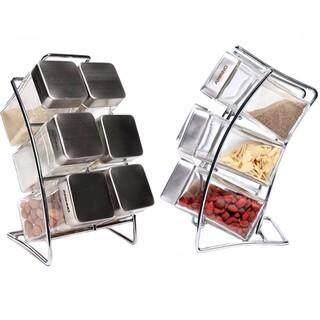 GOLUCK Elegant Kitchen Organizer Spice Rack With 6 pcs Square Jars