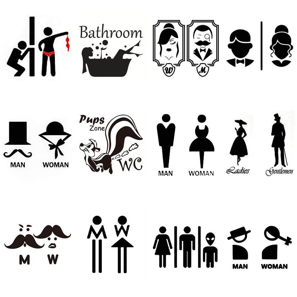 Ladies /& Gents Toilet Sign Decal22cm highin 16 colours available