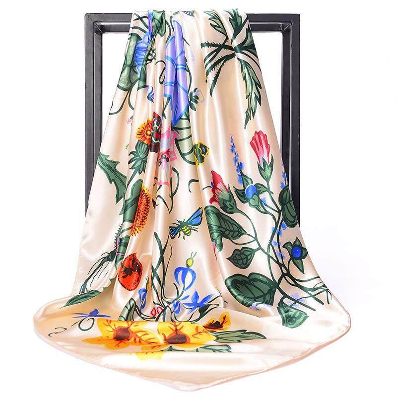 90cm kerudung jilbab syal anggun bunga satin sutra besar Kotak rambut Pita Commercial giveaway kantor wanita pantai Muslim gadis Turban selendang Aisya