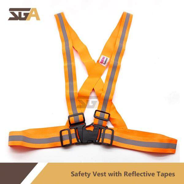 ( ORANGE ) Reflective Safety Fluorescent Vest 360 degree High Visibility Security Traffic Enclosure with Adjustable Belt Night Running Cycling Sports Outdoor Clothes Baju Keselamatan