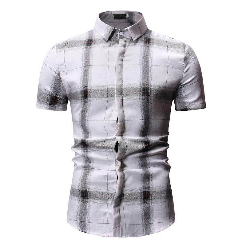 1a6359927484 Lattice Mens Shirts Plaid Check Design Short sleeve Mens Clothing Slim fit  New model Shirts White