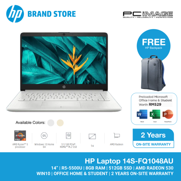 HP 14S-FQ1048AU 14 FHD LAPTOP (R5-5500U/8GB/512GB SSD/W10H/H&S/2Y W/SILVER) FREE BACKPACK Malaysia