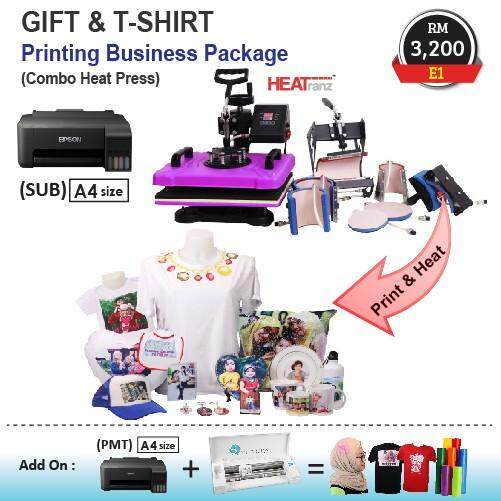Gift & T-shirt Printing Business Package (Combo Heat Press) E1