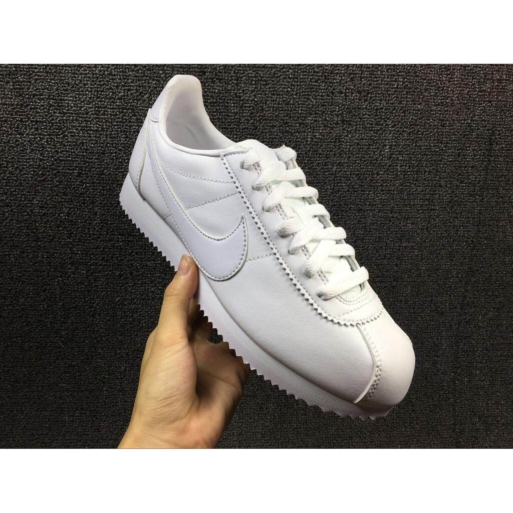 authentic nike classic cortez leather all white men women sport running shoe3644