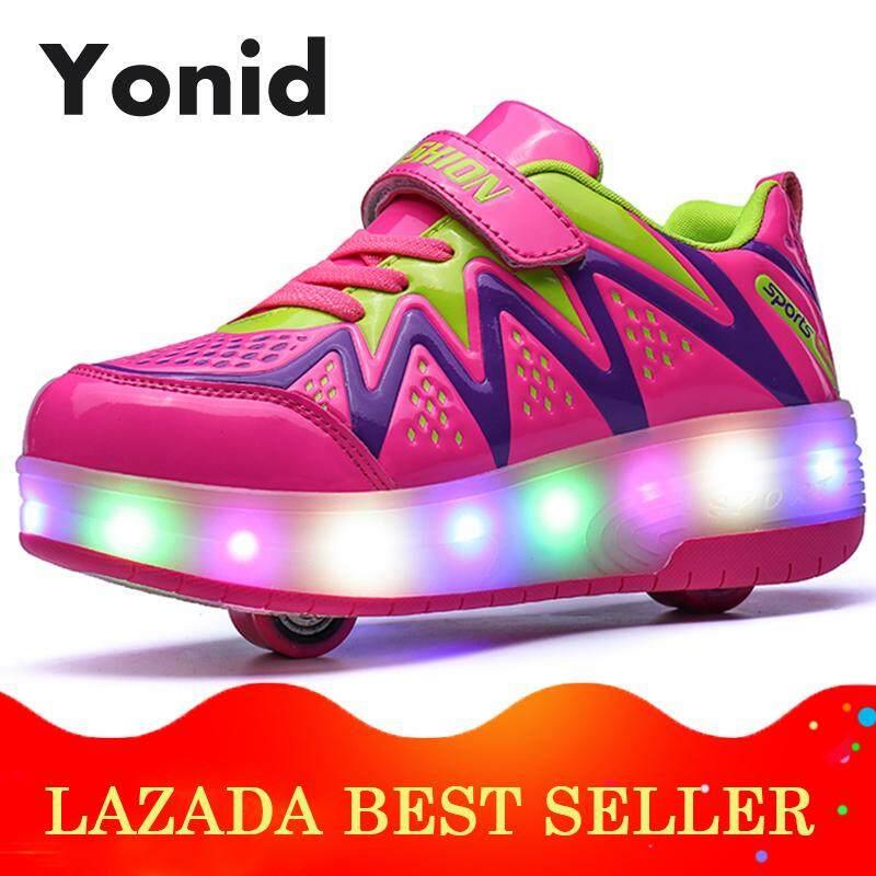 Mã Coupon Yonid Size 30-40 Giày Thể Thao Bé Trai Trẻ Em Giày Bánh Xe Trượt Cô Gái Đèn LED Lên Giày Đôi Bánh Xe Phát Sáng