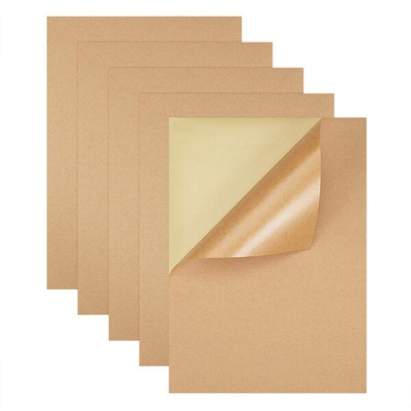 Mua 200 Sheets / Batch A4 Size Blank Kraft Paper Sticker / Self-Adhesive A4 Kraft Paper Label Paper for Inkjet Printer Packaging