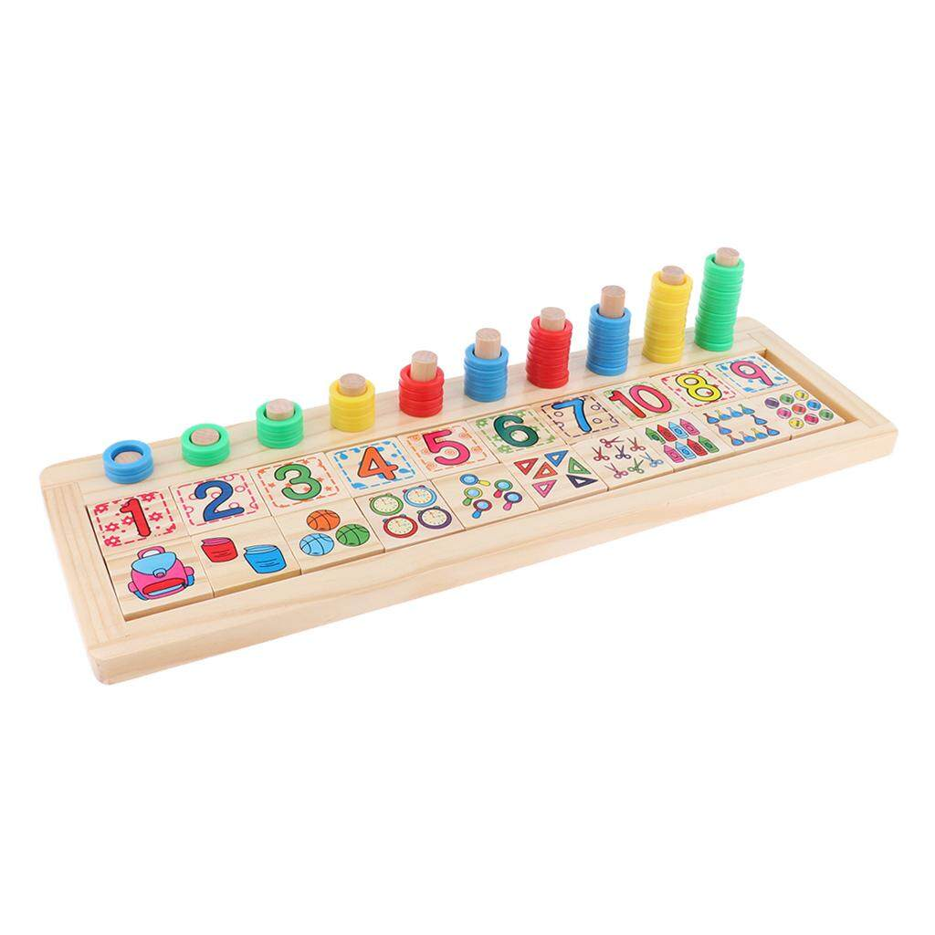 BolehDeals Counting Shape Stacker Wooden Educational Toys for Kids Math Early Learning