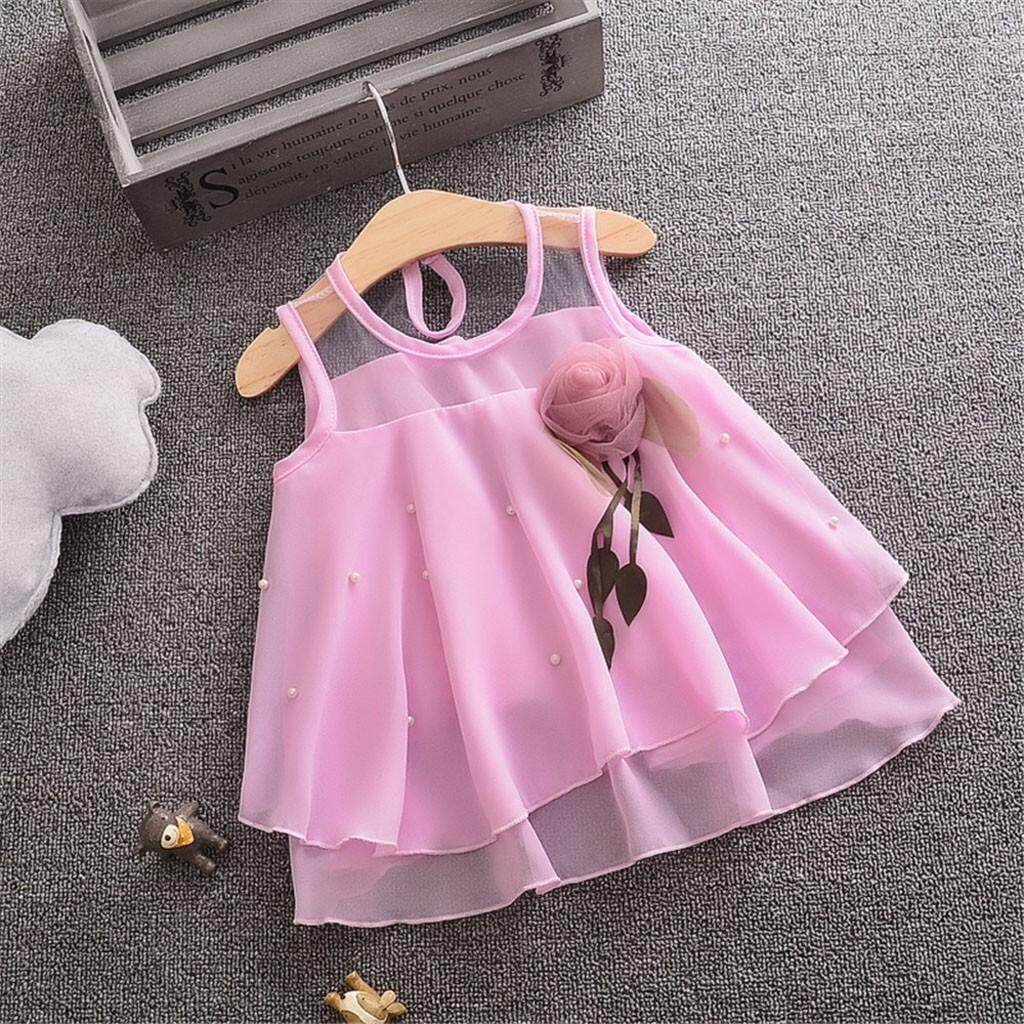 9977cff4c Rayeshop Toddler Baby Girls Sleeveless Solid Tulle Skirt Flowers Party  Princess Dresses【Reference size chart