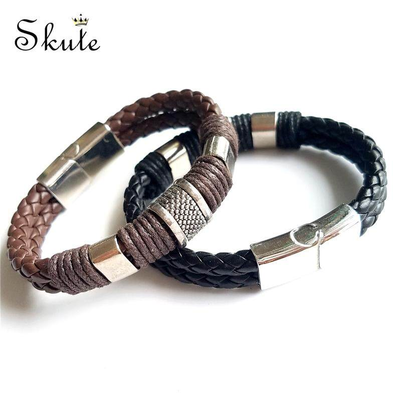 26ba346376902 ❤Skute Men Stainless Steel Punk Genuine Leather Bracelet Magnetic Handmade  Braided Cuff Bracelets for Gents Cool Metal Fashion Jewellery