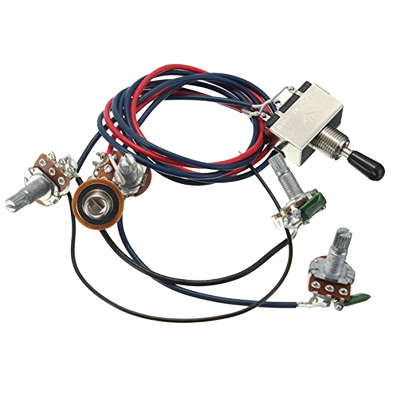 Lp Electric Guitar Pickups Wiring Harness Kit 2T2V 500K Pots 3 Way Switch With Jack For Dual Humbucker Gibson Les Pual Style Guitar Replacements