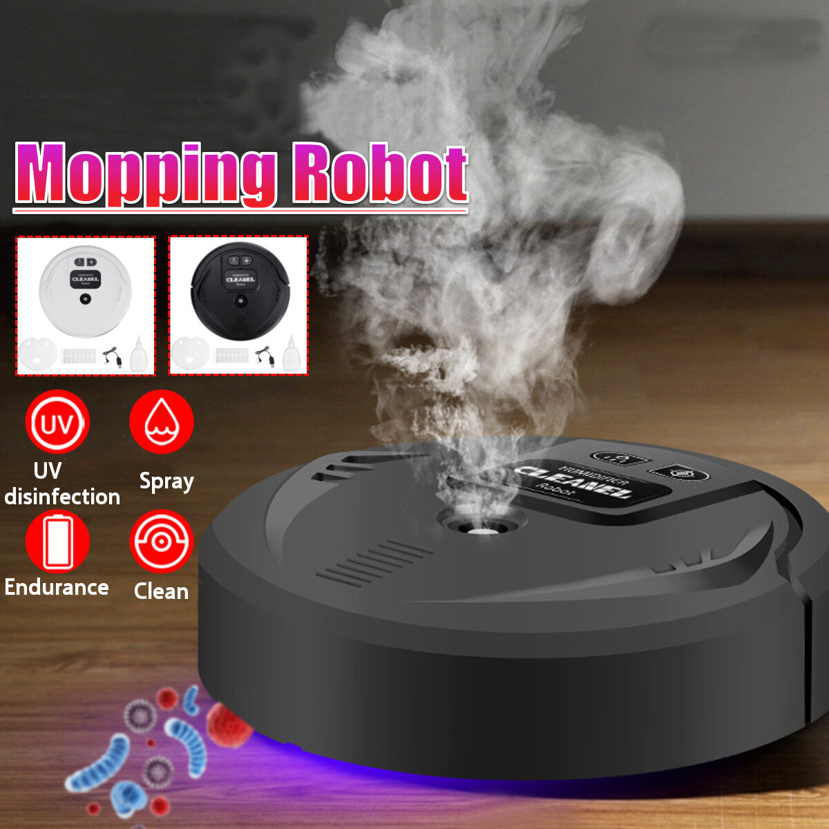 หุ่นยนต์ดูดฝุ่นอัจฉริยะมัลติฟังก์ชัน,เครื่องกวาดพื้นสเปรย์ฆ่าเชื้อยูวีเครื่องเพิ่มความชื้นในบ้าน