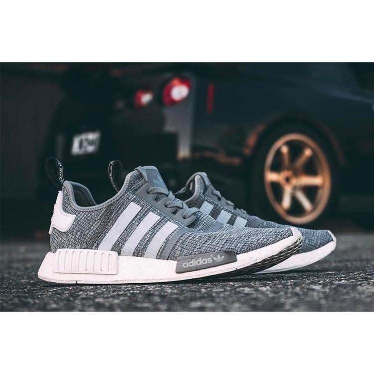 best service 7d5d0 c8012 Authentic Adidas NMD R1 Boost black and white men leisure shoes BB2886  BB2884