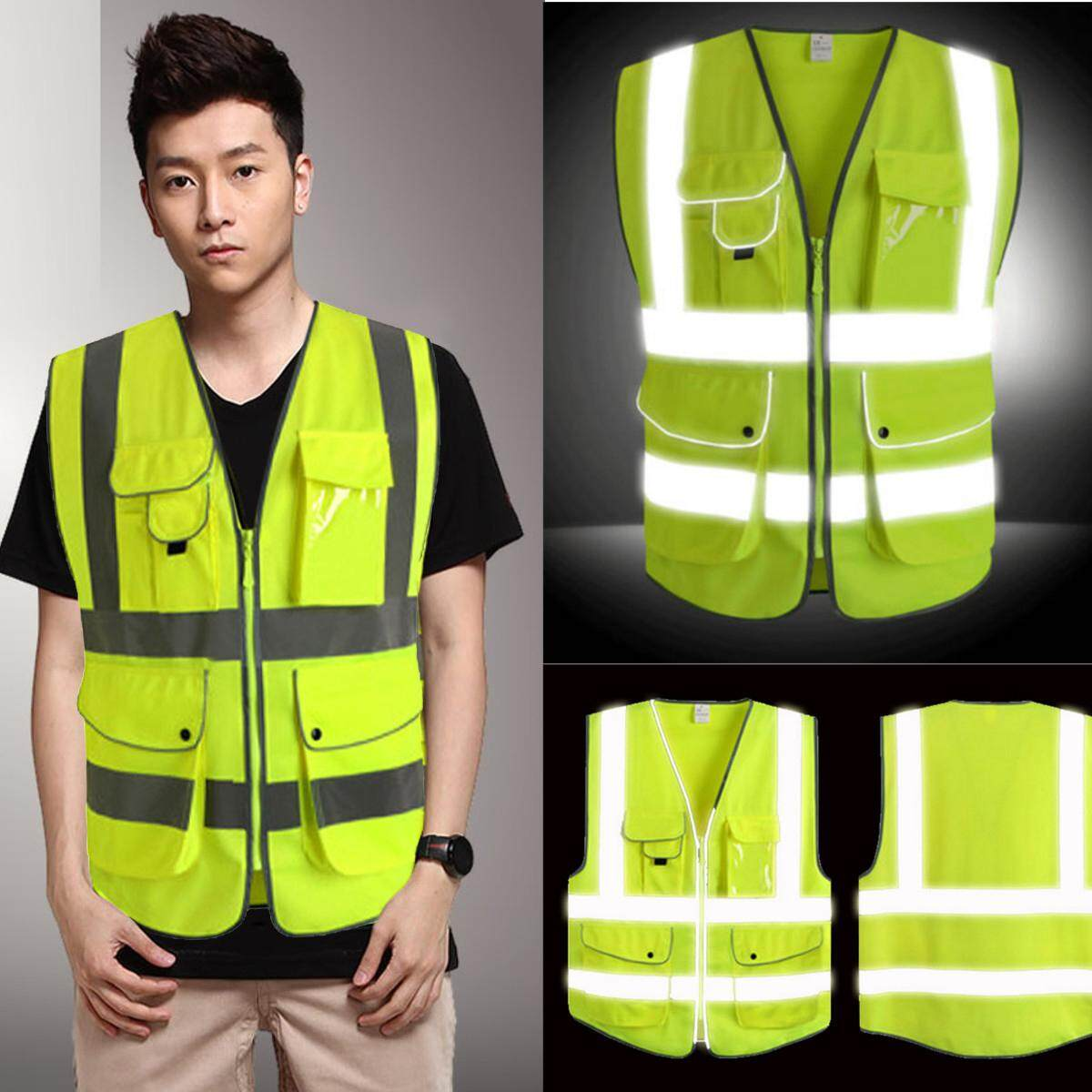 5Pcs Neon Green High Visibility Reflective Construction Safety Security Vest 5 Pocket # L