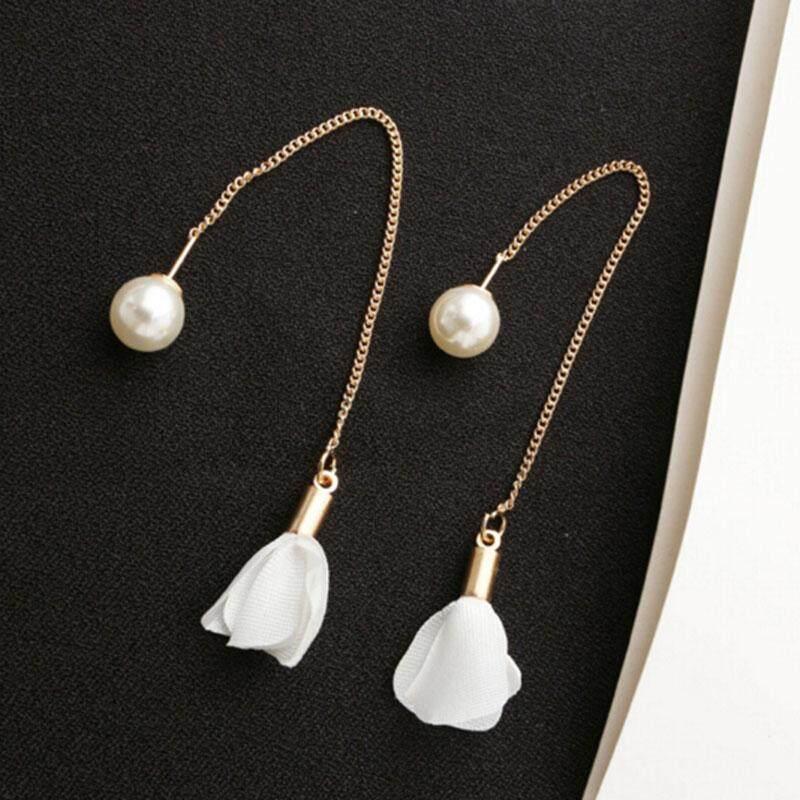 Minerally Pelat Perak Fesyen Menjuntai Anting-anting Bandul Panjang untuk Wanita Perhiasan Tassel Putih