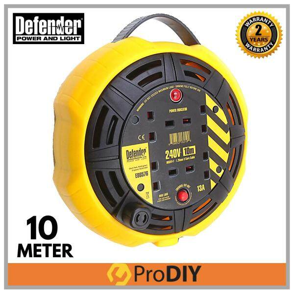 DEFENDER E86576 10M 240V Industrial Extension Wire Cable Reel (2 Years Warranty)
