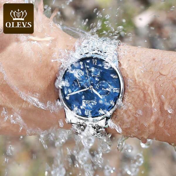 Jam Tangan Lelaki OLEVS Fashion New Original Stainless Steel Watch For Men Quartz Waterproof  Watch Black Silver Blue Free strap adjustment tool Malaysia