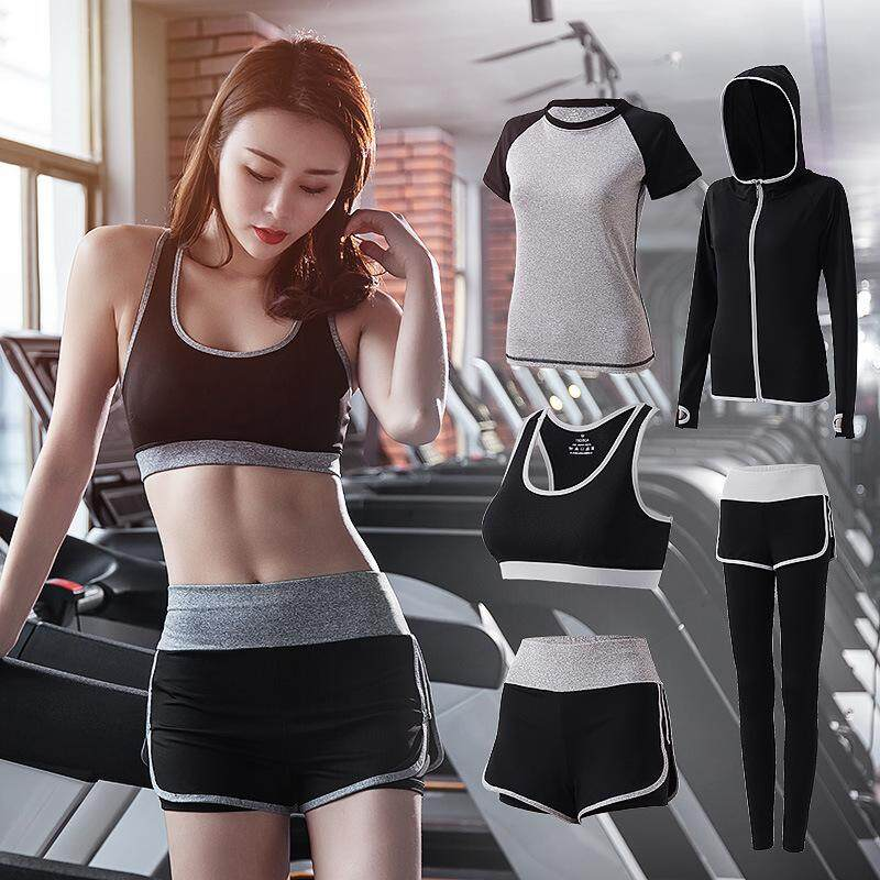 Women 5 Piece Yoga Set for Running T-Shirt Fitness Bra Sports Wear,4pcs Set Gray,S