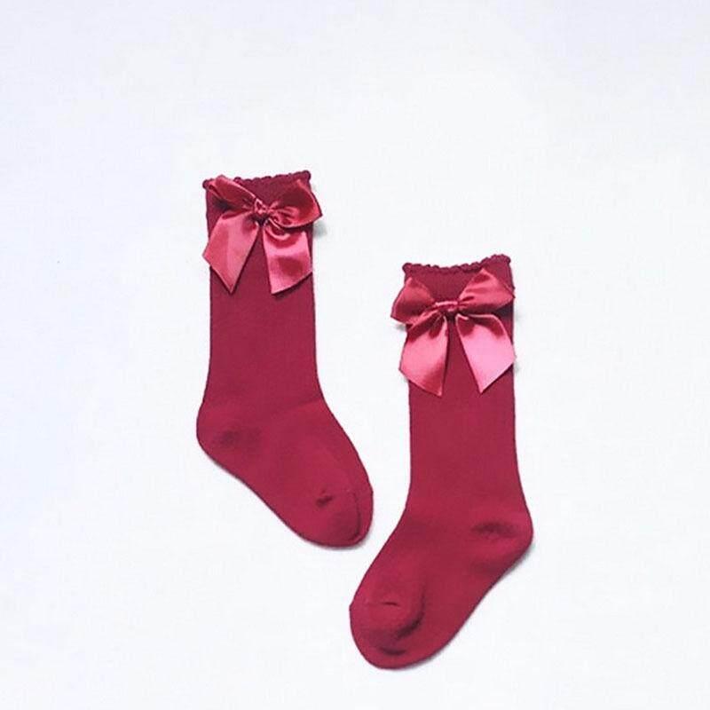 Toddler Baby Girls Knee High Stockings Cotton Bow Knee Tight Ribbon Socks Set