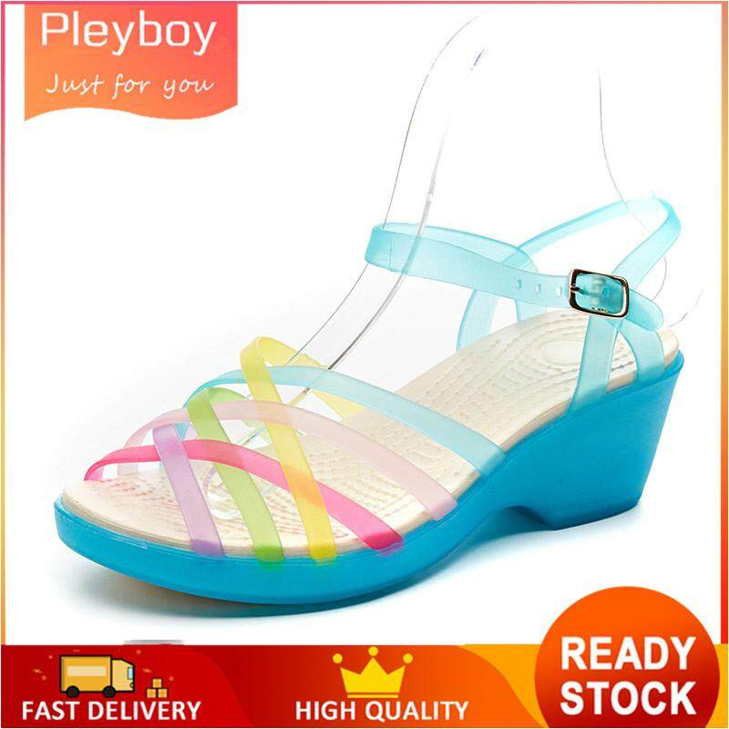 31112fbdcc16c Free Shipping-Women Sandals Jelly Shoes Peep Toe Summer High heel Beach Shoes  Ladies Slides