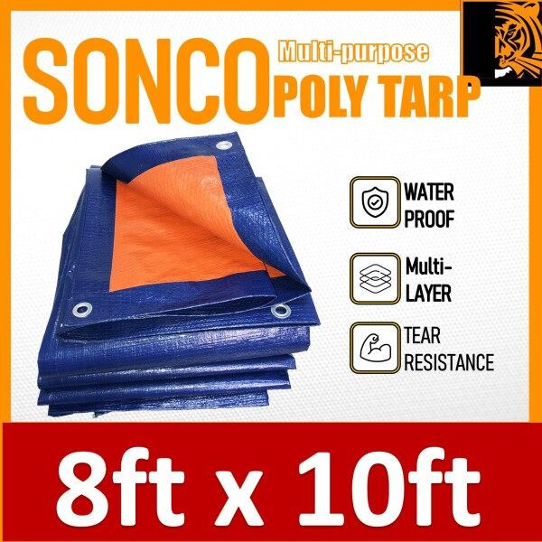 SONCO Korea High Quality Blue Orange Water Resistance Flexible Sheet Canvas Tarpaulin