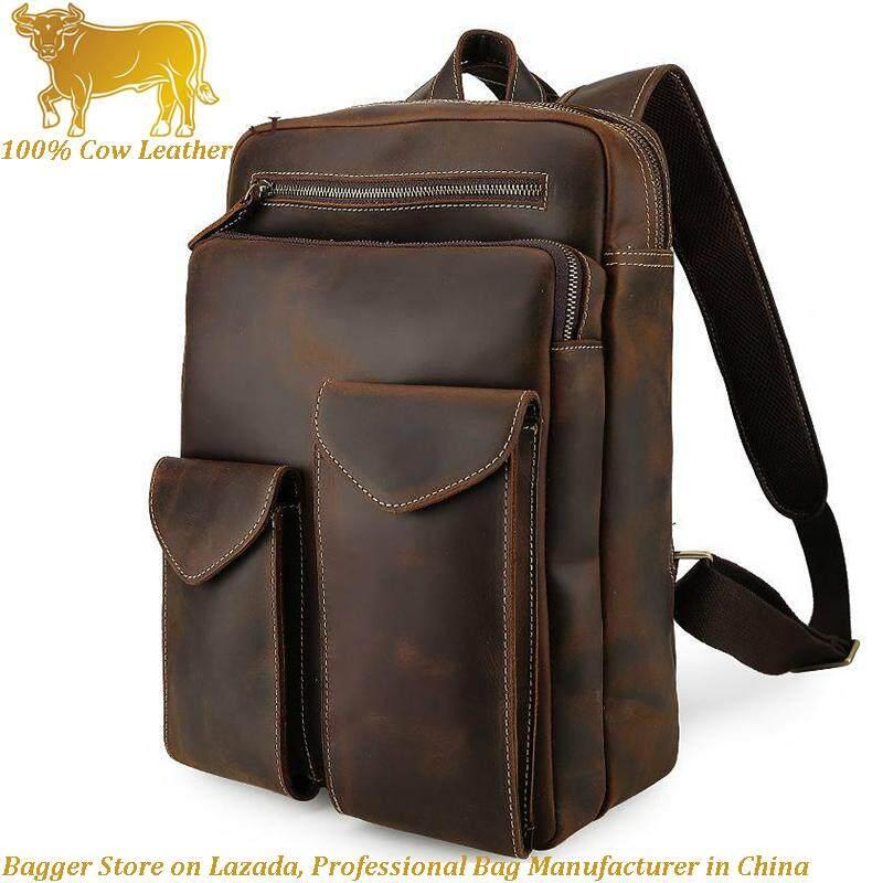 405c7cd686 100% Genuine Cow Leather Retro Men s Shoulder Bag Big Capacity Leisure  Handbag Crazy Horse Leather