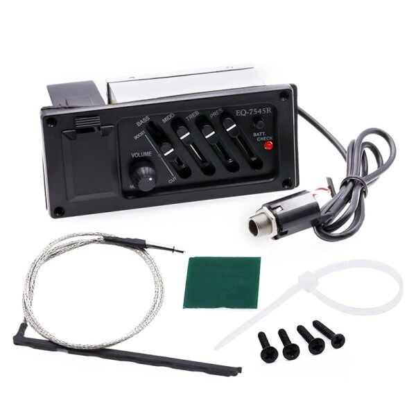 Guitar EQ Equalizer System 4-Band Acoustic Guitar Preamp Piezo Pickup EQ 7545R Guitar Acceseories