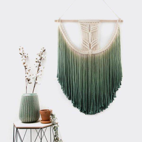 ZY 45x55cm Macrame wall hanging Macrame Wall Art Handmade Cotton Wall Hanging Tapestry for home decoration or wedding scene Bohemia