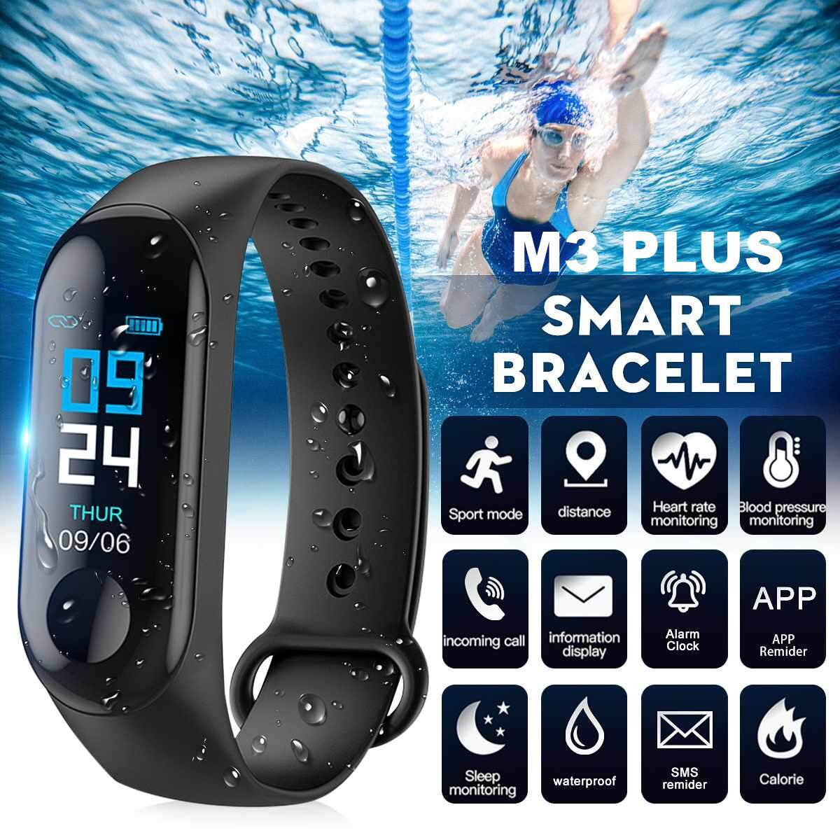 TopRating [original] M3 Plus Smart Band Bracelet Wristband Fitness Color Touch Screen IP67 Waterproof Bluetooth Monitor For ios Android Malaysia