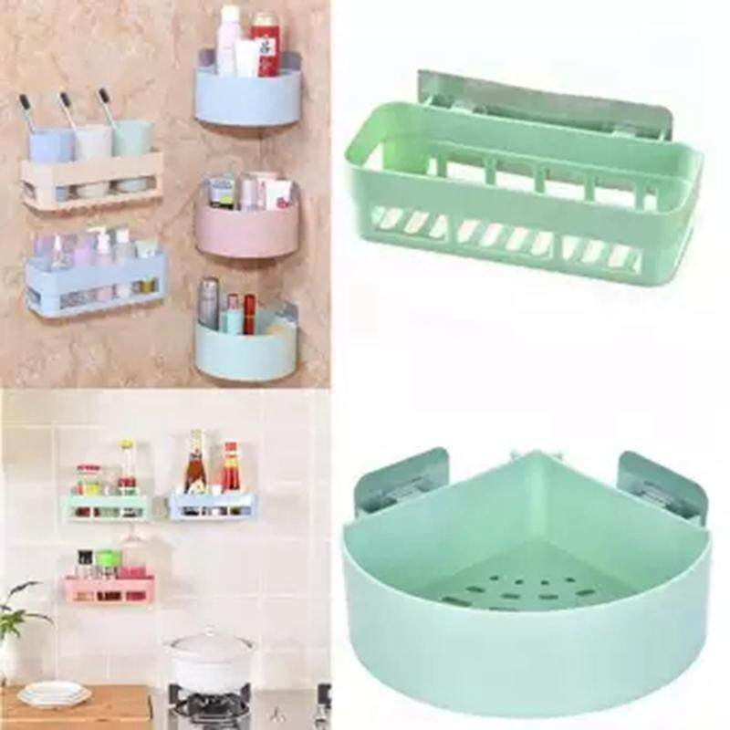2 Pcs One Set Bathroom Shelving Wall Corner Storage Rack Organizer For Shower Shampoo Holder Toilet Suction Cup Storage Rack Accessories By Rytain.