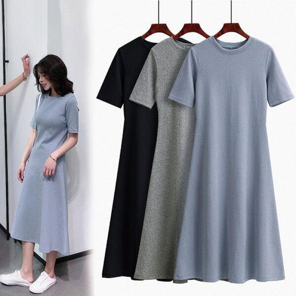 Váy Chữ A Màu Trơn Ngắn Tay Kiểu Lười Mới Cho Nữ