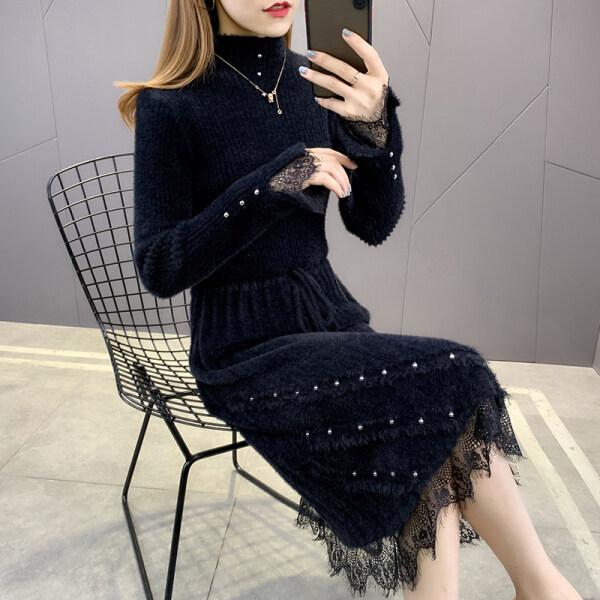 Bạc Hà Áo Len Váy Len Dài Một Mảnh Cho Nữ Chân Váy Phối Ren Eo Mới Thu/Đông 2020-