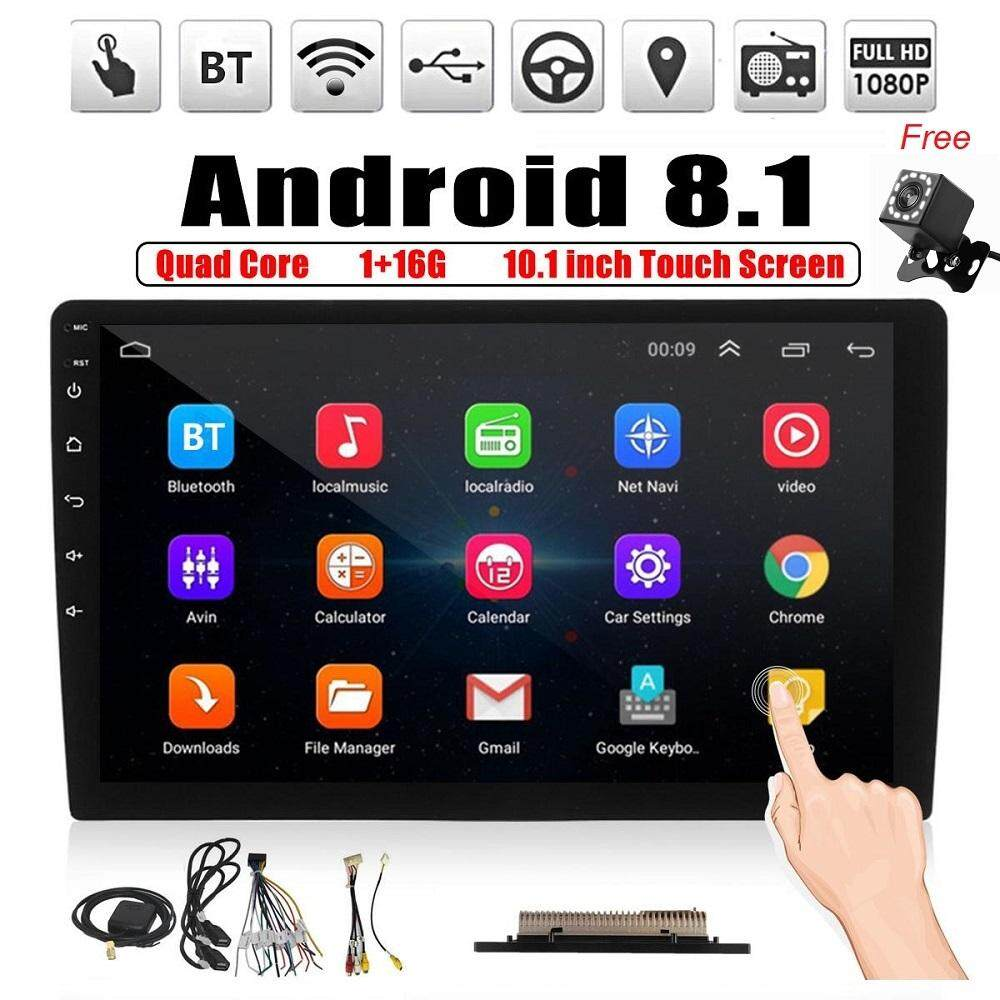 Podofo Android Double Din GPS Car Stereo Radio 10.1 HD 1080P 2.5D Tempered Glass Mirror Car MP5 Player with Bluetooth WiFi GPS FM Radio Receiver with Rear Camera