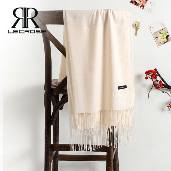 LecRose khăn quàng cổ Women Scarves Fringed Solid Cashmere-like Scarves Winter Thicken Warm Soft Pashmina Shawls Wraps Female Knitted Wool Long Christmas Scarf