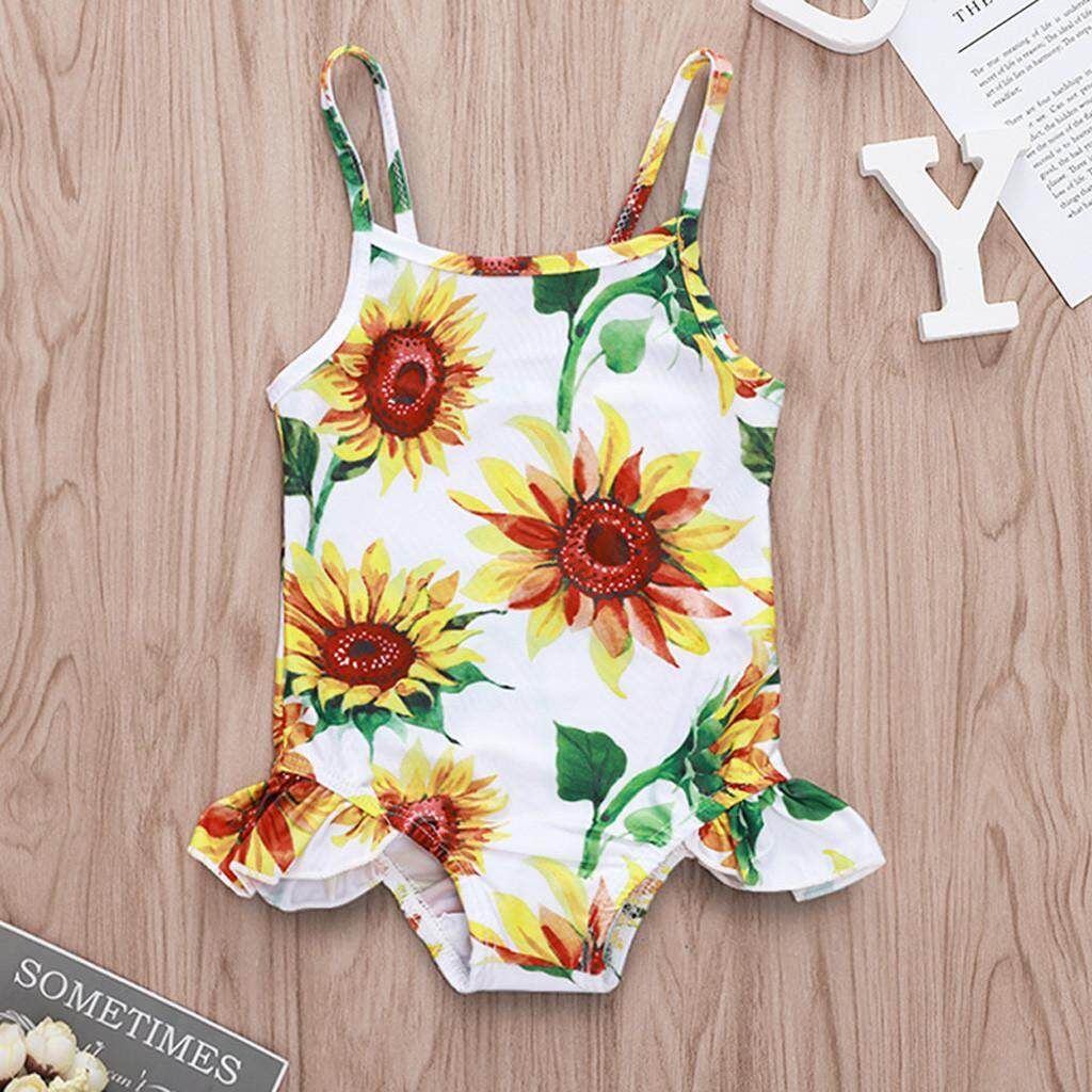 Babysmikee Kids Baby Girls Floral Print Ruffled Bikini Beach Swimsuits Bathing Clothes