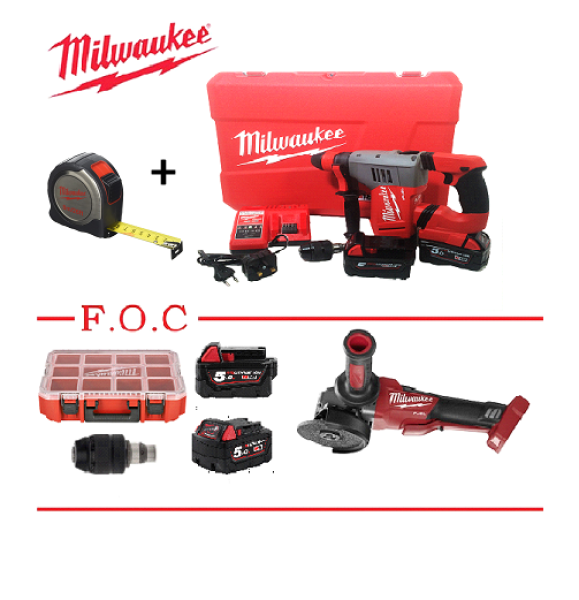 MILWAUKEE M18 HAMMER DRILL (F.O.C : M18 CAG 125XPDB BARE UNIT  & CONCRETE DRILL BIT X 4)