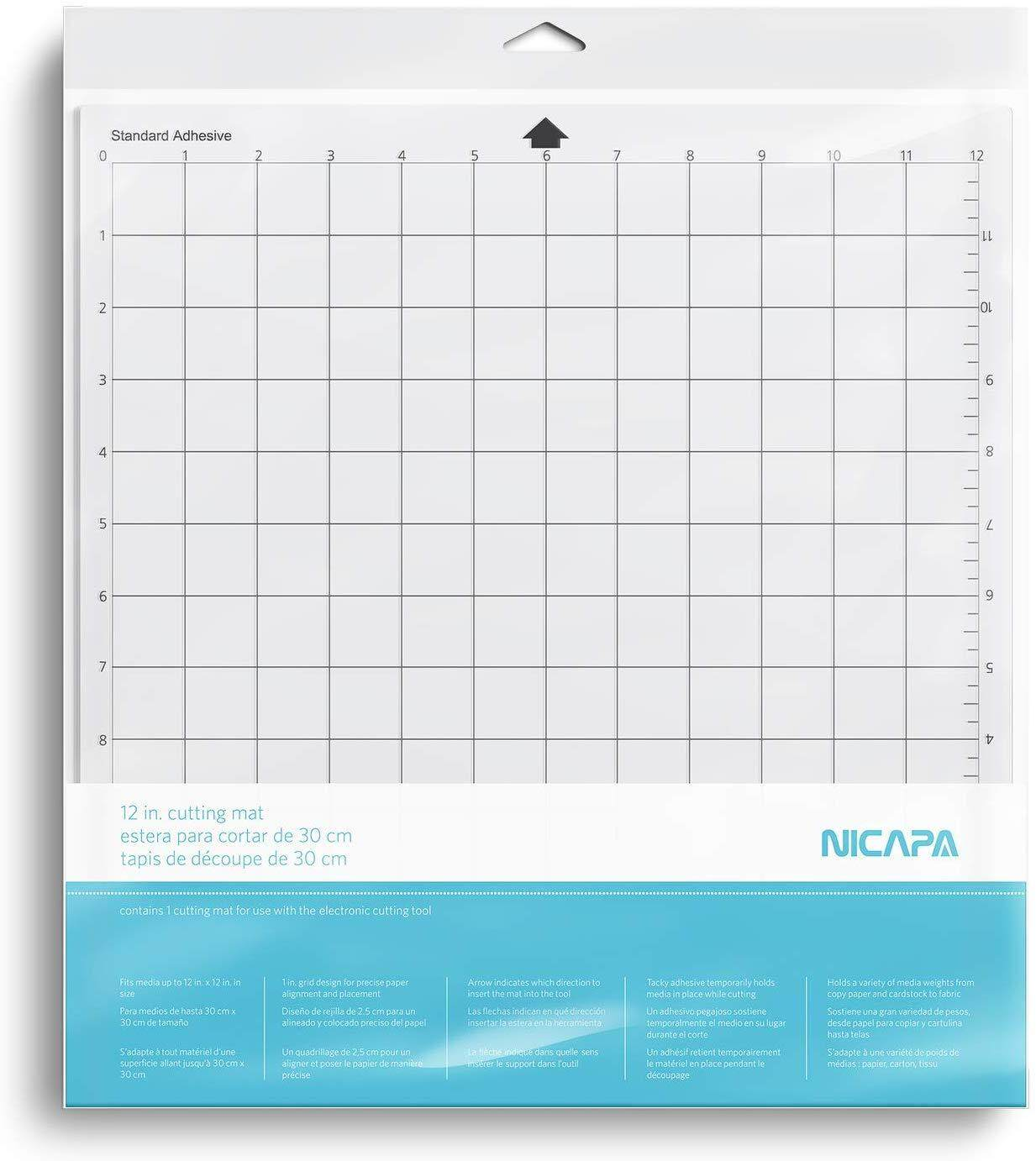Nicapa Standardgrip Cutting Mat For Silhouette Cameo 4 3 2 1 12x12 Inch 3 Mats Standard Adhesive Sticky Quilting Cricket Cut Mats Replacement