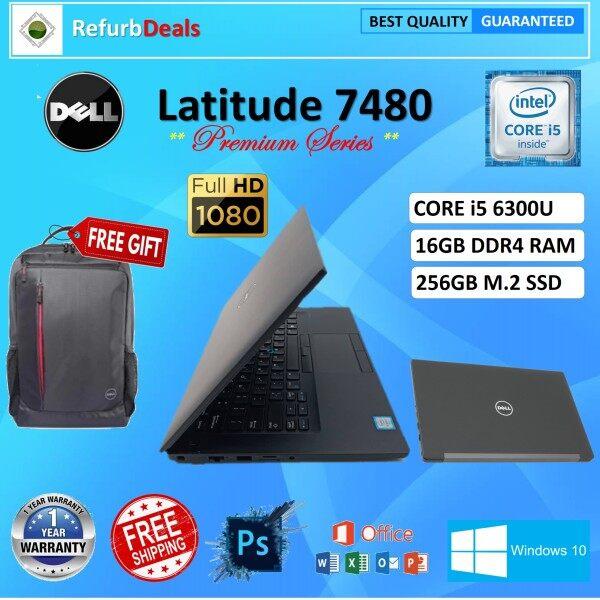 GRADE A -DELL LATITUDE 7480  CORE i5 6300U / 16GB DDR4 RAM / 256GB M.2 SSD / 14 inch FULL HD  SCREEN / WINDOWS 10 PRO / Dell Latitude E7480 / 1 Year DELL Global Warranty / Like New / REFURBISHED NOTEBOOK / ULTRASLIM LAPTOP / CORE i5 LAPTOP Malaysia