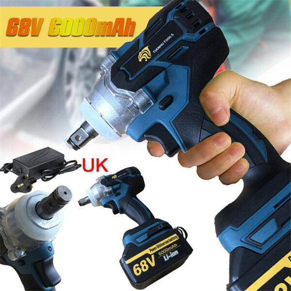 68V 360Nm Cordless Impact Driver Wrench Include UK Plug Charger and 1 x 6000mAh Lithium-Ion Battery