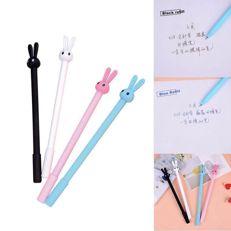 Mua 4pcs creative rabbit kawaii neutral pen cute rabbit header 0.38mm school supplies office stationery erasable gel pen Refill color: blue