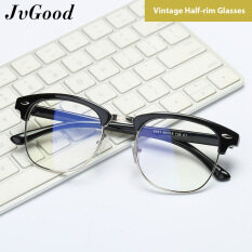 JvGood Glasses Vintage Style Half-rim Glasses Fashion Semi Frame Clear Lens Glasses Blue Light Blocking Glasses Anti-fatigue and Anti-UV Glasses for Daily Use for Men and Women