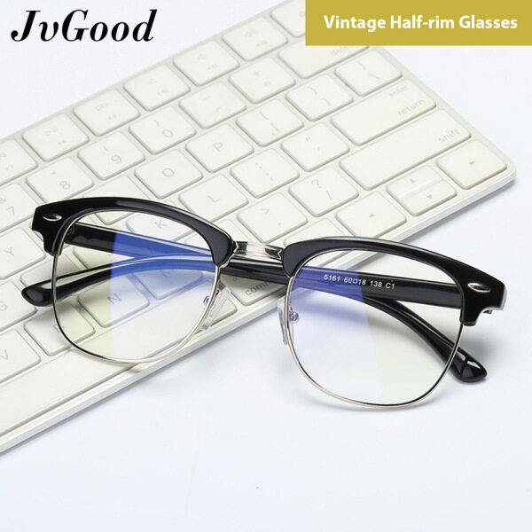 Giá bán JvGood Glasses Vintage Style Half-rim Glasses Fashion Semi Frame Clear Lens Glasses Blue Light Blocking Glasses Anti-fatigue and Anti-UV Glasses for Daily Use for Men and Women