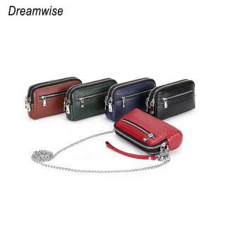 Dreamwise Mini Ly Hợp Đồng Xu Ví, Túi Xách Ba Lớp Có Khóa Kéo Đa Năng Thời Trang Da Bò Thật Túi Đeo Vai Nữ Dây Xích Nhỏ Phù Hợp thumbnail