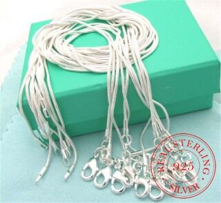 10pcs lot Promotion Wholesale 925 Sterling Silver Necklace Silver Fine Jewelry Snake Chain 1mm 16-30inch Necklace for Women Men thumbnail