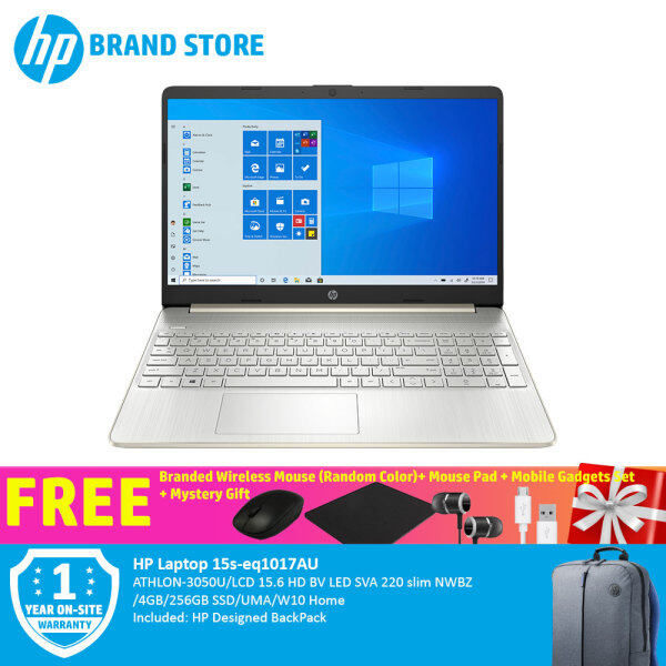 [Mid Year Sale]  HP Laptop 15s-eq1017AU 3N935PA ATHLON-3050U/LCD 15.6 HD BV LED SVA 220 slim NWBZ/4GB/256GB SSD/UMA/W10 Home+Free Premium Gift Malaysia