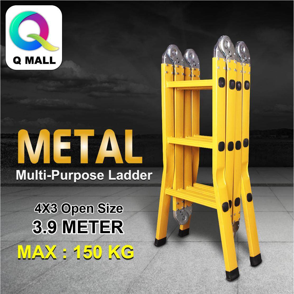 Q MALL Metal Multipurpose Ladder 12  Steps Folding Ladder Medium Duty Tangga 3.9meter (Yellow)